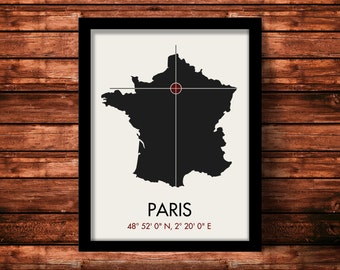 Paris Map Print | Paris Map Art | Paris Print | Paris Gift | France Map | 11 x 14 Print