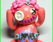 Sarah one Snozzel McButtontontontonton. A Love Button eye zombie Doll. Hand Sculpted Polymer Clay Figurine