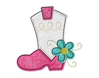 Cowgirl Boot with Flower Applique Machine Embroidery Design-INSTANT DOWNLOAD