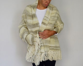 Handwoven shawl, Green pashmina wool, Yerba mate color fashion, merino wool large scarf, Autumn handmade gifts