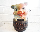 Sweet Shabby Piggy Bank Slotted Coin Pig Barrel vintage mid century  Saving Money