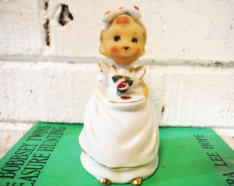 Vintage bell ceramic girl dinner kiss the cook  mid century kitsch kitchen decor