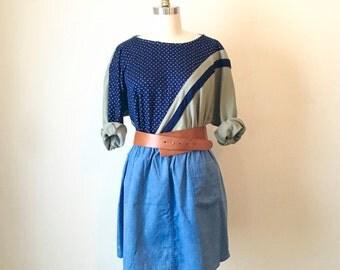 SALE Vintage Color Block Sweatshirt with Triangle Print