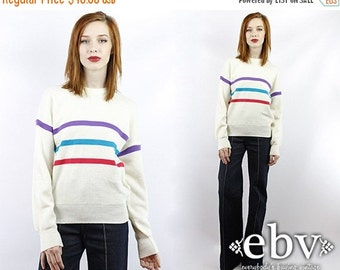 Vintage 80s White Striped Sweater Vintage Knit Vintage Sweater Vintage Pullover Vintage Jumper Striped Sweater Wool Sweater