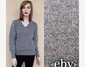 Vintage 80s Grey Knit Sweater S M Grey Sweater Gray Sweater Vintage Sweater Vintage Knit