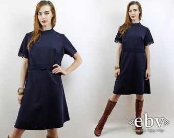 Vintage 60s Navy Mini Dress L XL Crochet Dress Navy Dress 60s Mini Dress Space Age Dress
