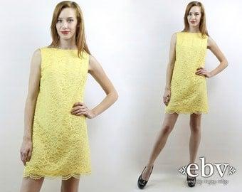 Lace Dress Yellow Dress Scalloped Dress Mod Mini Dress 60s Mod Dress Yellow Lace Dress Vintage 60s Yellow Lace Mini Party Dress S