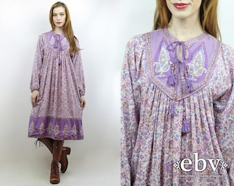Indian Dress India Dress Hippie Dress Hippy Dress Boho Dress Festival Dress Indian Cotton Dress Vintage 70s Purple Paisley Dress S M