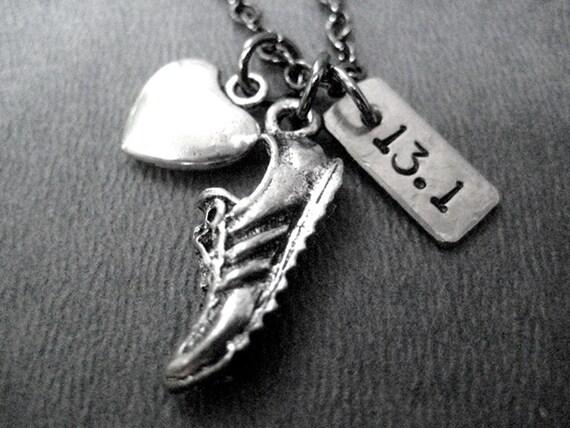LOVE to RUN 13.1 - Half Marathon - 3 Pendants with Puffed Heart - Running Jewelry - 13.1 Running Necklace on Gunmetal Chain - Run