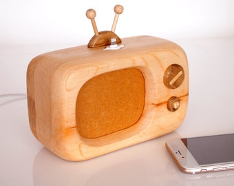 Wooden iPhone Dock - Vintage Rustic TV - iPhone Dock Handmade From Reclaimed Wood - iPhone 6s Charging - Unique Present