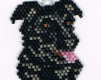 Hand Beaded Black Lab Dog earrings