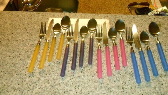 Unique Vintage 64 Piece Flatware Set With Colored Plastic