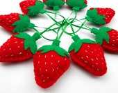 Strawberries Set of 10 Handmade Felt Strawberry Ornaments  Summer Fruit Child safe Gift bowl filler