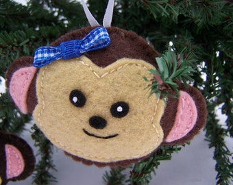 Handmade Monkey  Ornaments Set of 4 Child safe Christmas Felt Ornaments Monkey party
