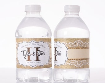 100 Rustic Wedding Decor - Water Bottle Labels - Barn Wedding Water Labels