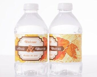 """Autumn Wedding Decor - 30 Wedding Water Bottle Labels - Need a different quantity? Click on the """"choose total"""" tab to see all pricing"""