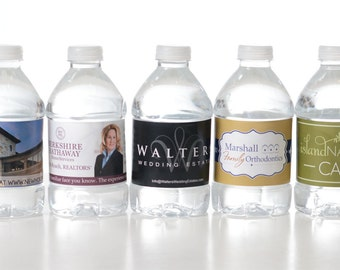100 Custom Water Bottle Labels - Your Business Logo or Design - Custom Logo Water Bottle Labels - Business Water Bottle Labels