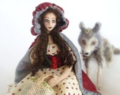 Art cloth doll needle felted wolf Red Riding Hood fairytale soft sculpture