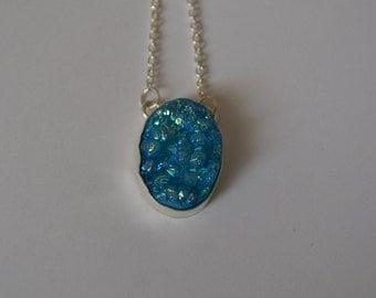 Blue Agate Druzy Pendant Necklace