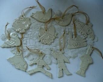 Twelve Days of Christmas Ornaments  - glazed ceramics