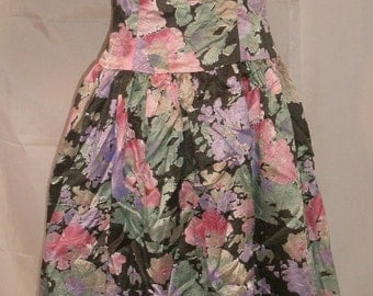 "BIG FALL SALE Pretty Floral Fit & Flare Party Dress With Jacket-Size 2-Small-34"" Bust-Prom-Wedding Attire-Special Occasion-Bombshell"