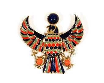 Accessocraft Vintage Falcon Statement Necklace, Pendant, Brooch, Egyptian Revival, Runway, Couture, Designer, 1970s Jewelry