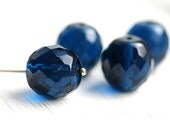14mm beads, Indicolite Blue, Fire polished, czech glass beads, large round beads, dark blue beads, faceted, ball beads - 4Pc - 0968