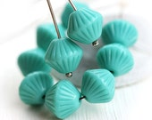 Turquoise bicones, czech Glass beads, large bicone beads, pressed - 11mm - 10pc - 2028