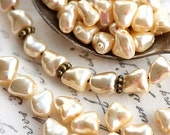 Faux Pearls, czech glass beads, tooth shape, beige pearls, nugget, 7x6mm - 50pc - 2352