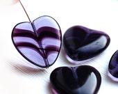 Huge heart beads, Purple heart, czech glass hearts, pressed beads, true love - 24x22mm - 4Pc - 2388
