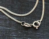 50cm Silver Necklace, Finished sterling silver chain, Diamond cut curb chain, 925 silver, for jewelry making - 1pc - F353