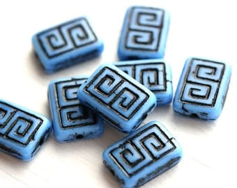 8pc Blue Rectangle czech beads, Blue and Black Greek Key, Carved glass beads - 12x9mm - 1457