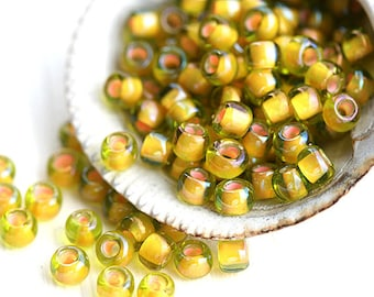 Yellow Orange Seed beads, TOHO, size 6/0, Inside-Color Jonquil Apricot Lined N 302, rocailles, round beads - 10gramm - S602