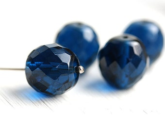 14mm Indicolite Blue Fire polished czech glass Ball beads, large round dark blue beads, faceted - 4Pc - 2244