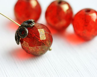 14mm beads, Red with bronze luster, Fire polished, czech glass beads, large round beads, red beads, faceted, ball beads - 2Pc - 1081