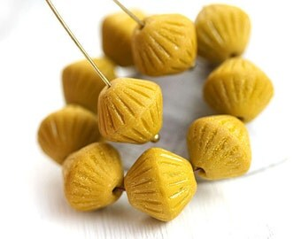Ocher Yellow bicones, czech Glass beads, Matte yellow rustic large bicone beads, pressed - 11mm - 10pc - 1788