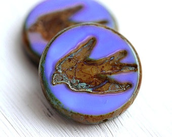 Blue Bird beads, Swallow, picasso beads, czech glass, periwinkle blue, birdy, large, round, tablet shape - 23mm - 2Pc - 0680