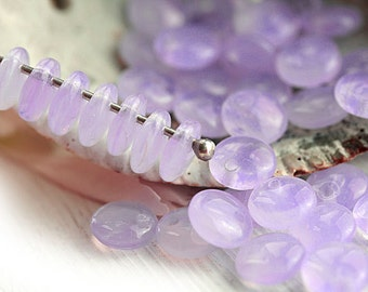 6mm Lentil beads, Lilac glass beads, top drilled, czech beads, light purple, rondelle - 50Pc - 2361