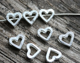 Puffy heart beads, Silver hearts, Romantic, Greek beads, heart connector - 8Pc - F381