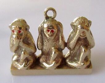 Large 9ct Gold Three Wise Monkeys Charm