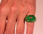 French Art Deco Bakelite Ring True Coral Chubby Ring 1930s Jewelry Size Approx 4.30 US