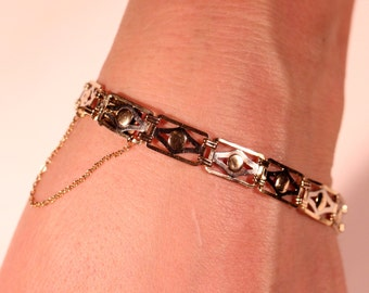 French Art Deco Gold Plated Bracelet Articulated Secure Clasp Delicate Jewelry