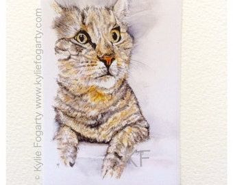 "CAT Painting - ACEO Fine Art Print -Painting - Miniature Print -Animal Art, ""Oscar"" - Art - Animal Lover - Unique Gift"