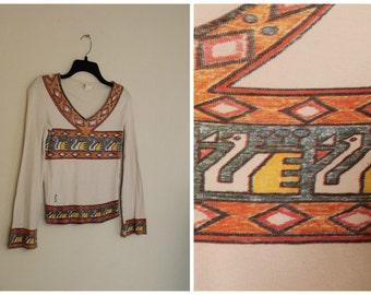 Vintage 1970s cotton swan shirt bohemian geometric hippie flared sleeves angel sleeves Size small medium