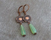 Green and Copper Art Nouveau Earrings .. art nouveau jewellery, mint green earrings, opal earrings, vintage wedding, wedding jewellery