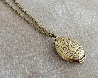 Folding Bronze Locket ..  folding locket, bronze necklace, concertina locket, jewellery, family tree locket