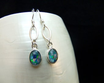 Opal Mosaic Handmade Silver Earrings