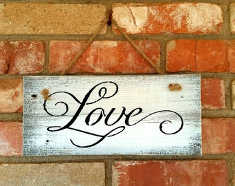 LOVE Custom Painted Wood Reclaimed Fence Panel Plaque