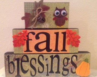 Fall Blocks..Fall Blessings with Old Owl, Pumpkin and Colorful Fall Leaves..Fall Decor..Autumn Decor