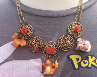 Fire Type Pokemon Necklace with Charmander, Vulpix, and Arcanine